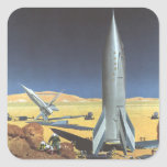 Vintage Science Fiction Desert Planet with Rockets Square Sticker
