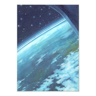 Vintage Science Fiction, Earth at Night with Stars Card