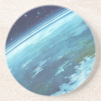 Vintage Science Fiction, Earth at Night with Stars Drink Coaster