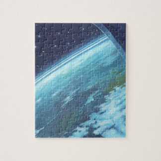 Vintage Science Fiction, Earth at Night with Stars Jigsaw Puzzle