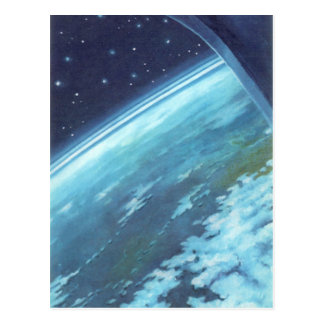 Vintage Science Fiction, Earth at Night with Stars Postcard