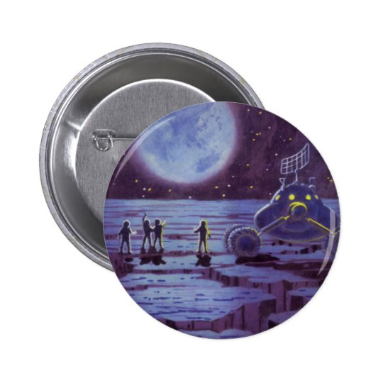Vintage Science Fiction Earth Rover Aliens on Moon Button