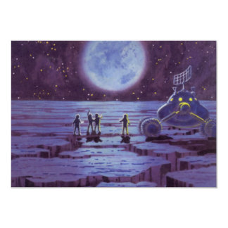 Vintage Science Fiction Earth Rover Aliens on Moon Card