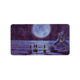 Vintage Science Fiction Earth Rover Aliens on Moon Label