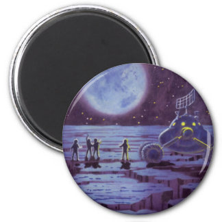 Vintage Science Fiction Earth Rover Aliens on Moon Magnet