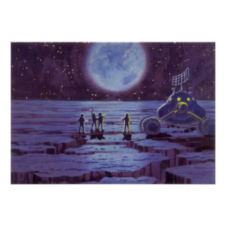 Vintage Science Fiction Earth Rover Aliens on Moon Poster