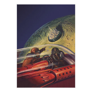 Vintage Science Fiction Flying to the Lunar City Poster