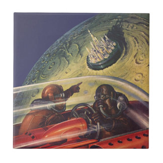 Vintage Science Fiction Flying to the Lunar City Small Square Tile