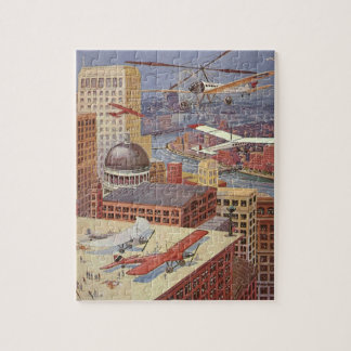Vintage Science Fiction Flying Transporation Jigsaw Puzzles
