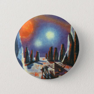 Vintage Science Fiction Foreign Planet with Aliens Button