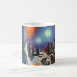 Vintage Science Fiction Foreign Planet with Aliens Coffee Mug