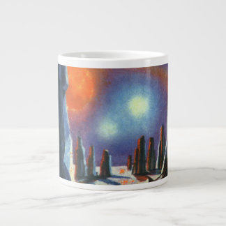 Vintage Science Fiction Foreign Planet with Aliens Large Coffee Mug