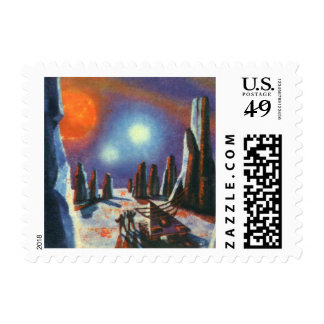 Vintage Science Fiction Foreign Planet with Aliens Stamp