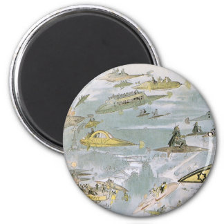 Vintage Science Fiction Futuristic Cars, Taxi Cabs 2 Inch Round Magnet