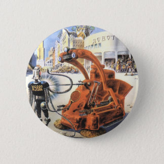 Vintage Science Fiction Futuristic City Alien Wars Pinback Button