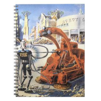 Vintage Science Fiction Futuristic City Alien Wars Spiral Notebook