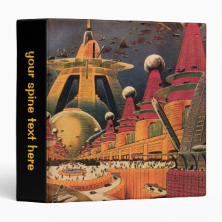 Vintage Science Fiction Futuristic City Flying Car Binders