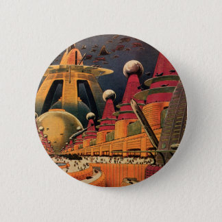 Vintage Science Fiction Futuristic City Flying Car Button