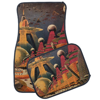 Vintage Science Fiction Futuristic City Flying Car Car Floor Mat