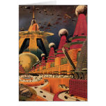 Vintage Science Fiction Futuristic City Flying Car Card