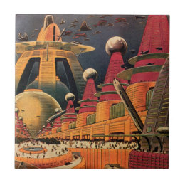 Vintage Science Fiction Futuristic City Flying Car Ceramic Tile