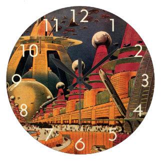 Vintage Science Fiction Futuristic City Flying Car Wall Clocks