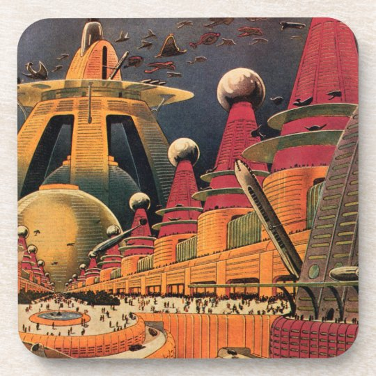 Vintage Science Fiction Futuristic City Flying Car Coaster