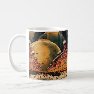 Vintage Science Fiction Futuristic City Flying Car Coffee Mug