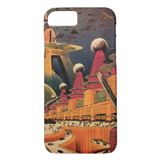Vintage Science Fiction Futuristic City Flying Car iPhone 7 Case