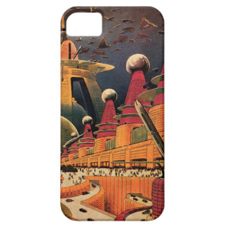 Vintage Science Fiction Futuristic City Flying Car iPhone SE/5/5s Case