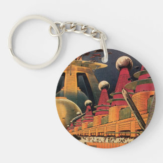 Vintage Science Fiction Futuristic City Flying Car Double-Sided Round Acrylic Keychain