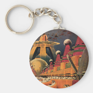 Vintage Science Fiction Futuristic City Flying Car Basic Round Button Keychain