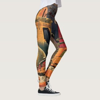 Vintage Science Fiction Futuristic City Flying Car Leggings