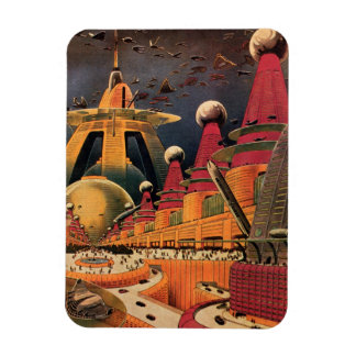 Vintage Science Fiction Futuristic City Flying Car Magnet