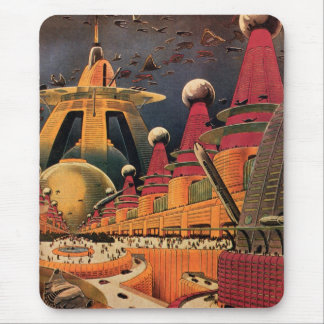 Vintage Science Fiction Futuristic City Flying Car Mouse Pad