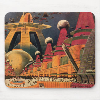 Vintage Science Fiction Futuristic City Flying Car Mousepad
