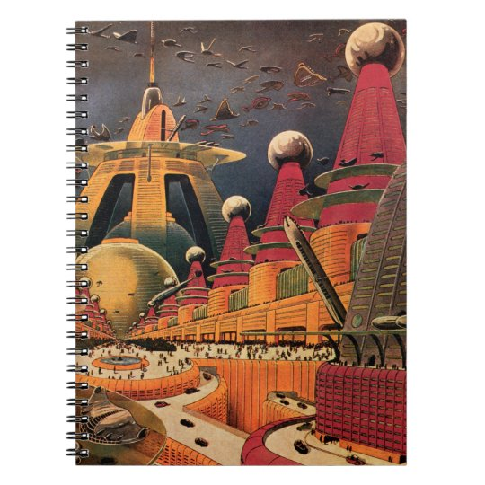 Vintage Science Fiction Futuristic City Flying Car Notebook