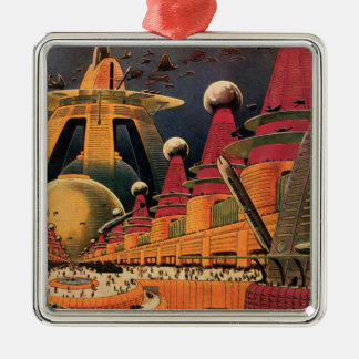 Vintage Science Fiction Futuristic City Flying Car Christmas Tree Ornament