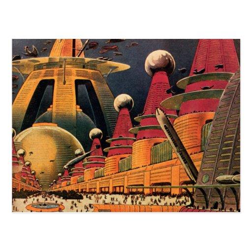 Vintage Science Fiction Futuristic City Flying Car Postcard