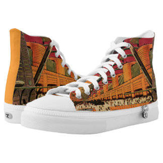 Vintage Science Fiction Futuristic City Flying Car Printed Shoes