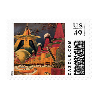 Vintage Science Fiction Futuristic City Flying Car Stamp