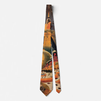Vintage Science Fiction Futuristic City Flying Car Tie