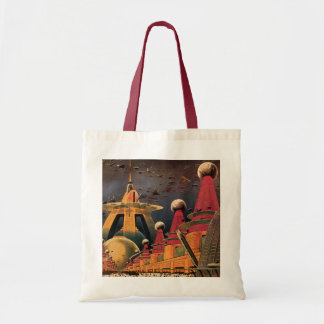 Vintage Science Fiction Futuristic City Flying Car Tote Bag