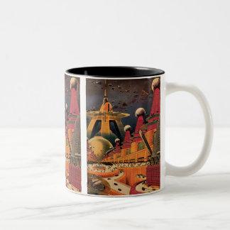 Vintage Science Fiction Futuristic City Flying Car Two-Tone Coffee Mug