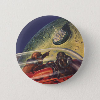 Vintage Science Fiction, Futuristic City on Moon Button