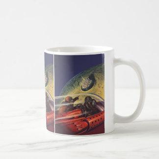 Vintage Science Fiction, Futuristic City on Moon Classic White Coffee Mug