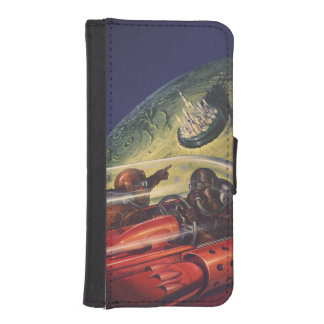 Vintage Science Fiction, Futuristic City on Moon iPhone SE/5/5s Wallet Case