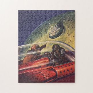 Vintage Science Fiction, Futuristic City on Moon Jigsaw Puzzle