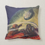 Vintage Science Fiction, Futuristic City on Moon Throw Pillow