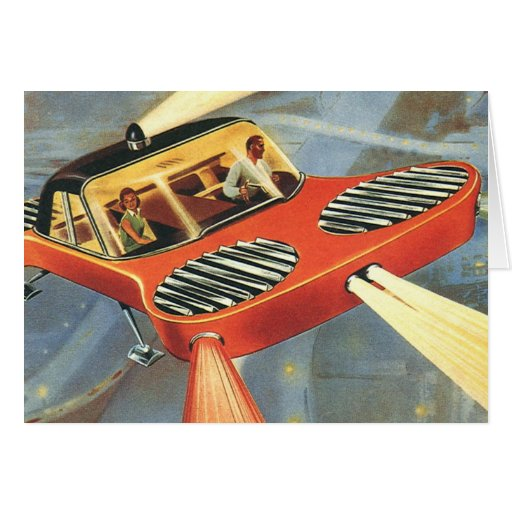 Vintage Science Fiction Futuristic Flying Car Greeting Cards